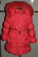 Зимнее пальто на девочку кораловое  36 р Украина