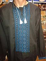 Чорна вишита сорочка чоловіча ручної роботи (поплін)