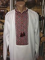 Біла чоловіча вишита сорочка на домотканому полотні