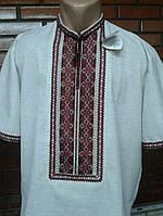 Сіра лляна вишивана сорочка чоловіча ручної роботи