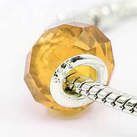 Бусина Pandora (Пандора) желтая прозрачная граненная стеклянная