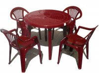 Пластиковая мебель. Комплект стол круглый. 4 стула Луч