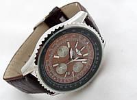 Мужские часы BREITLING кварцевые, коричневый циферблат, корпус серебристый