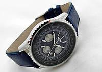 Мужские часы BREITLING кварцевые, синий циферблат, корпус серебристый