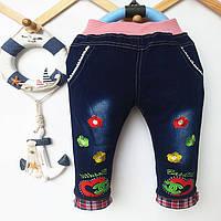 Детские джинсы на резинке с декором