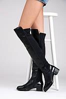Демисезонные ботфорты черные на низком каблуке