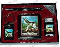 Подарочный набор YJ 6269 Фляга+брелок+зажигалка+ручка Подарочные наборы с флягой Интересные подарочные наборы