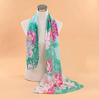 Шелковый шарфик цвета морской волны с цветами