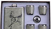 Интересные подарки Мужской Подарочный набор Moongrass 6В1 AL-714 Фляга+лейка+4 рюмки Фляга мужчины Подарочные