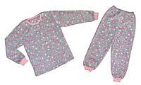 Детская теплая флисовая пижама оптом р.7,8 лет.Полномер!!