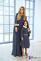 Family Look Элегантные парные платья в мелкий горошек мама и дочка