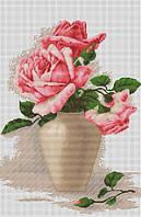 """Набор для вышивания крестом """"Luca-s"""" B507 Розовые розы в вазе"""