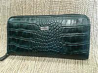Турецкий кожаный кошелек-клатч темно-зеленый Feboni на молнии