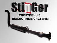 Резонатор прямоток Стингер ВАЗ 2108-21099 карб с гофрой