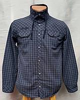 Модная на меху рубашка для мальчиков Клетка синяя