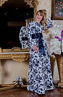 Вечернее женское платье длинное в пол  с роскошным цветочным принтом в комплекте с атласным поясом
