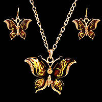 """Позолоченный ювелирный набор украшений из эмали """"Бабочки"""""""