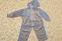 Cпортивный костюм с капюшоном велюровый на мальчика, рост 80 см