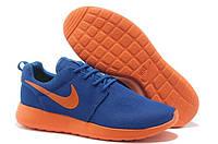 Беговые кроссовки мужские Найк Роше ран 2 сине-оранжевые Оригинальные