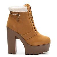 Рыжие женские ботинки на высоком каблуке, шнуровка, зимние