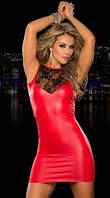 Платье красное мини лайковое