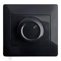 Светорегулятор 600 Вт (с рамкой) LXL Oscar черный глянец