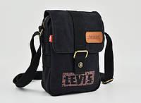 Мужская текстильная сумка Levi's через плечо LEVIS 23*17 см, чёрная