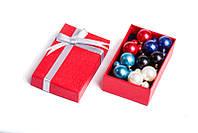 Набор серьги шары Dior цвет красный, синий, голубой, белый, черный жатый эффект/набор