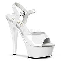 Белые лаковые босоножки для Pole Dance, обувь PleaserUSA