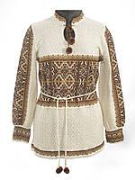 В'язана жіноча блузка Влада коричнева зі стійкою