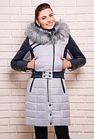 Женское зимнее пальто двойка куртка + сарафан серое размеры 42-44