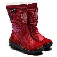 Мембранные зимние сапожки для девочки, красные на молнии, размер 27-32