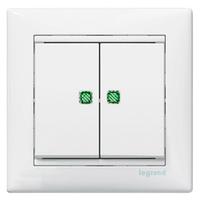 Механизм выключателя 2-клавишного с подсветкой, Valena белый, 774428