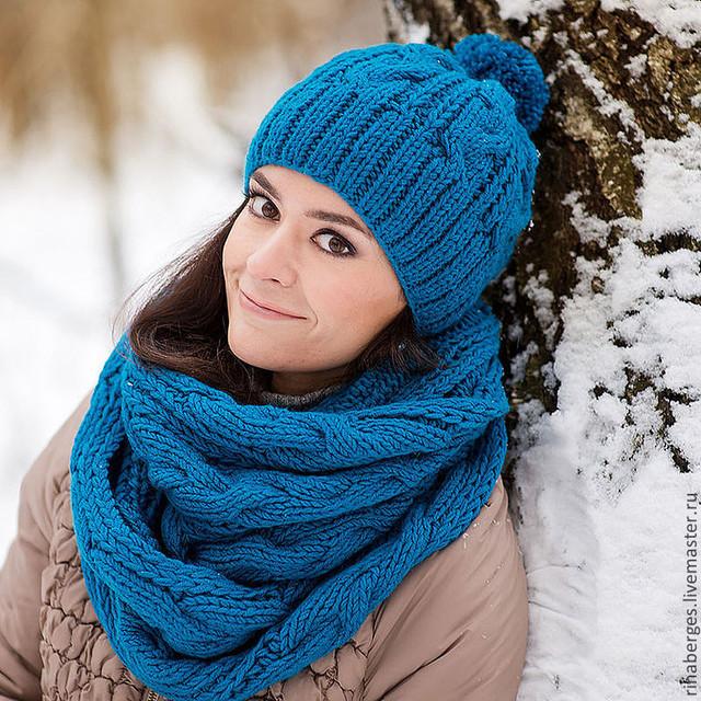 Вязанная шапка спицами своими руками фото