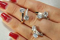 Набор ювелирных украшений из серебра с золотом и фианитом