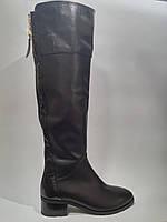 Кожаные женские черные евро зимние модные удобные стильные сапоги ботфорты 38р Foletti