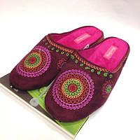 Бордовые Женские тапочки с вышивкой, с закрытым носком на легкой тенкетке, размер 37