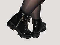 Кожаные зимние ботинки на тракторной подошве