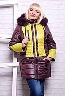 Женское зимнее пальто Жилет шоколад размеры 46-56