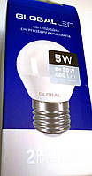 Светодиодная лампа 5 W 3000к 220V  Е27 GLOBAL LED теплый свет