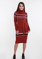 Женское длинное зимнее вязаное платье с воротником под горло