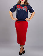 "Красная юбка миди ""Регина"" до 54 размера"