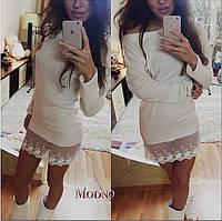 Женское красивое платье-туника с кружевом