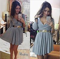 Женское стильное платье на запах с пышной юбкой (2 цвета)