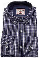 """Рубашка мужская """"Carlo Cottarelli"""". Синяя клетка.  Длинный рукав"""