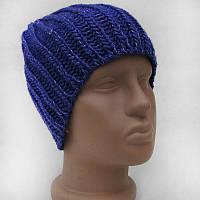 Женская шапка зимняя синяя