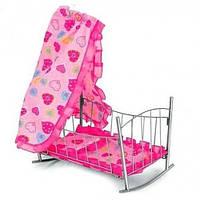 Детская кроватка-качалка для куклы металлическая 9349