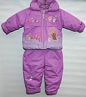 Комбинезон демисезонный для девочки 2-4 года сиреневый с вышивкой