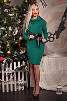 Теплое женское платье с воротником-хомутом