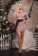 Теплое платье-туника с большим воротником-хомутом